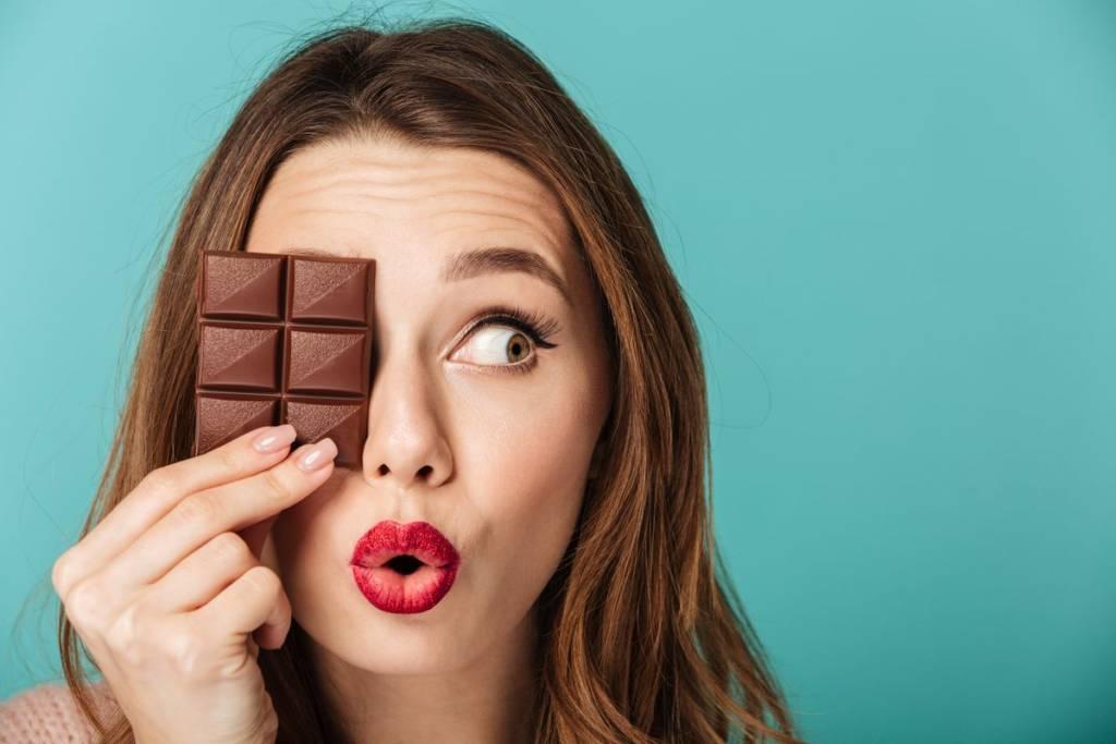 woman with dark chocolate