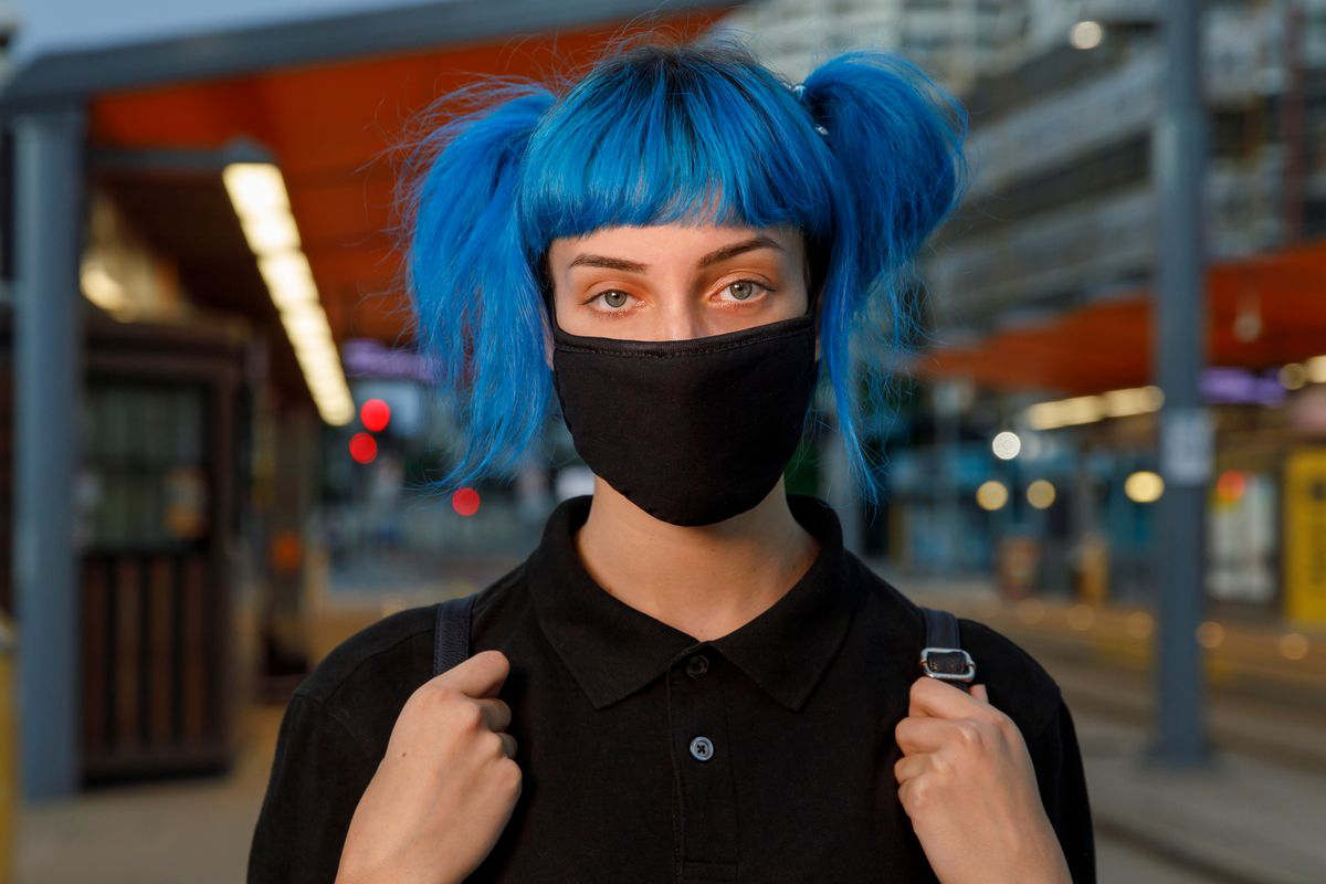 woman with blue hair