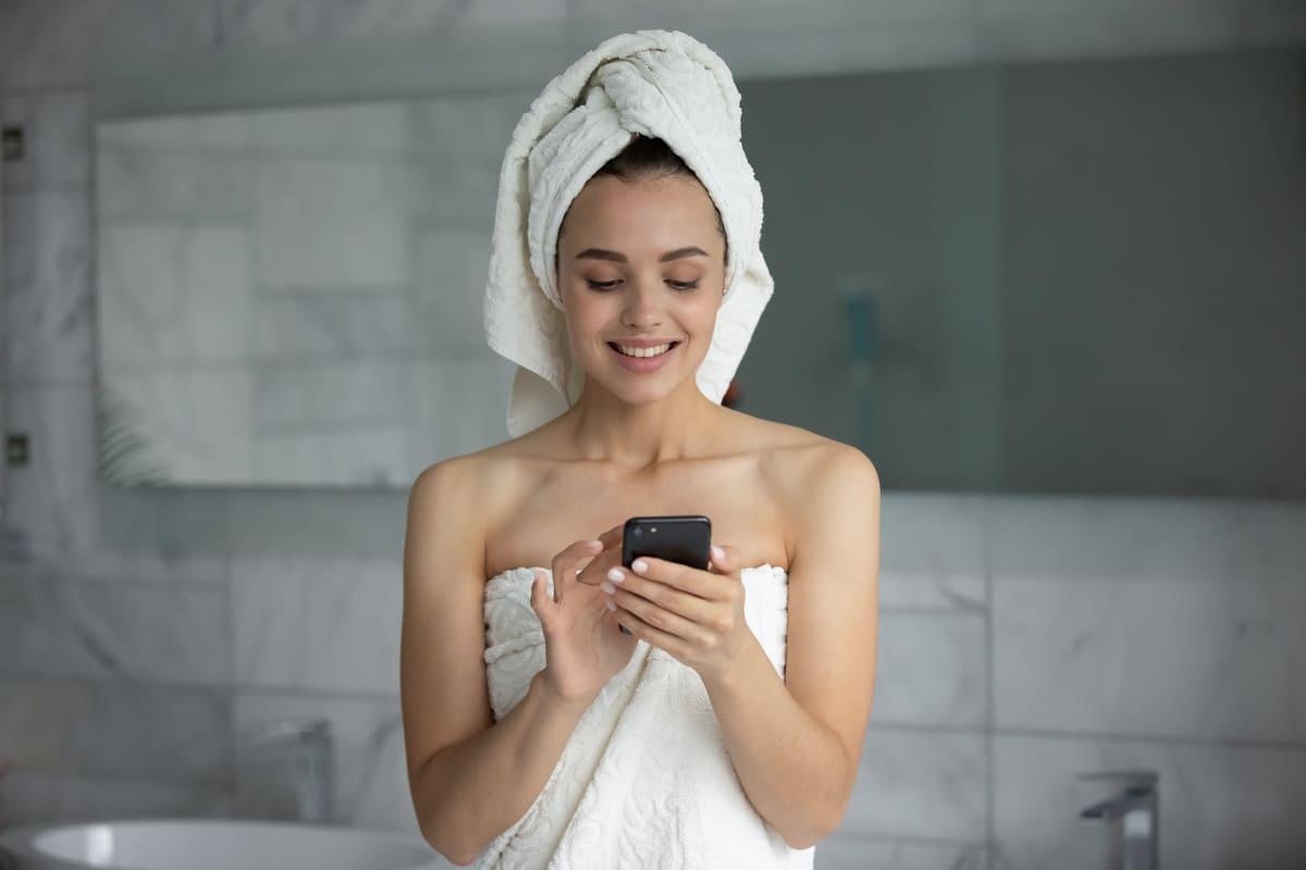 Girl bathroom shower