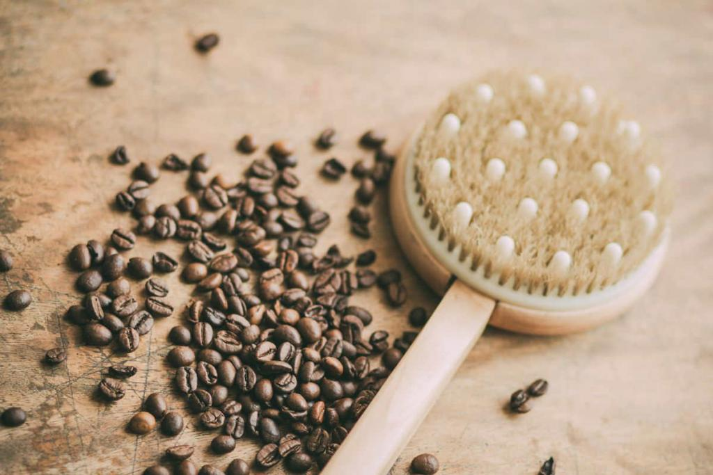 body brush and coffee