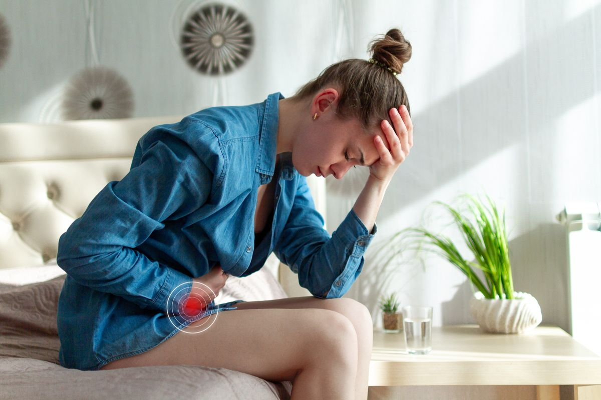 Woman with cystitis