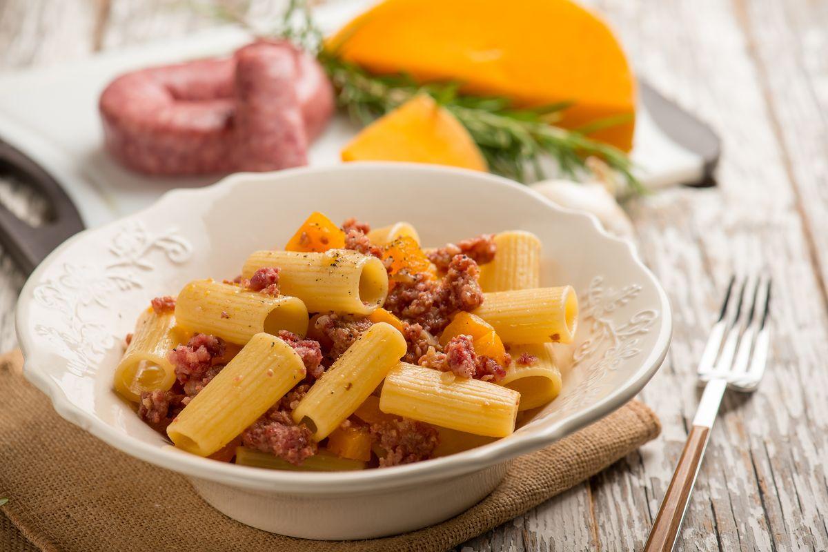 Pumpkin and sausage pasta