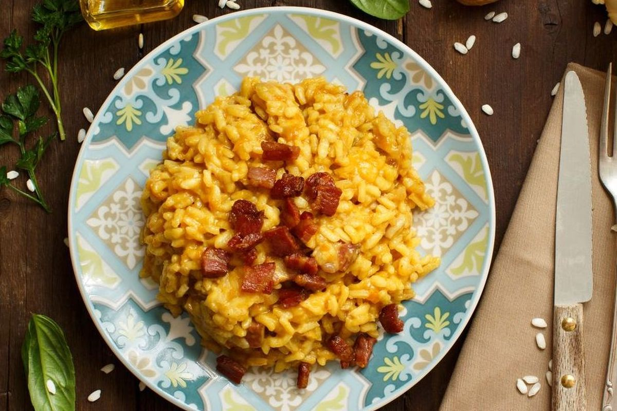 Pumpkin and bacon risotto