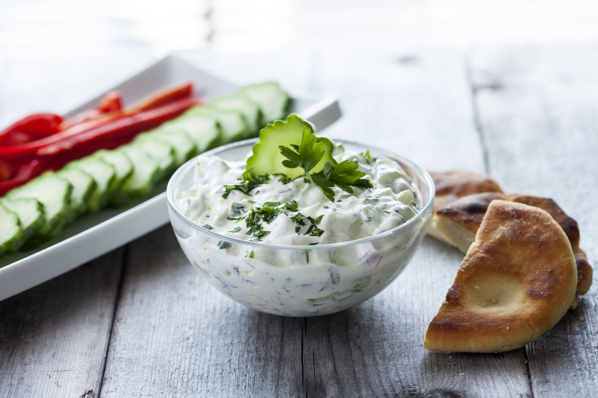Tzatziki sauce with cucumbers and tomatoes
