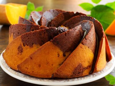 Delicious and perfect for a snack… our pumpkin and chocolate cake