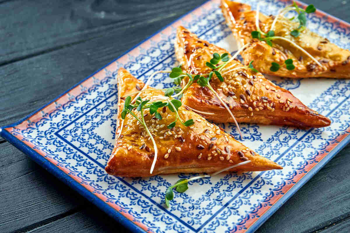 Filo pastry with leeks and courgettes
