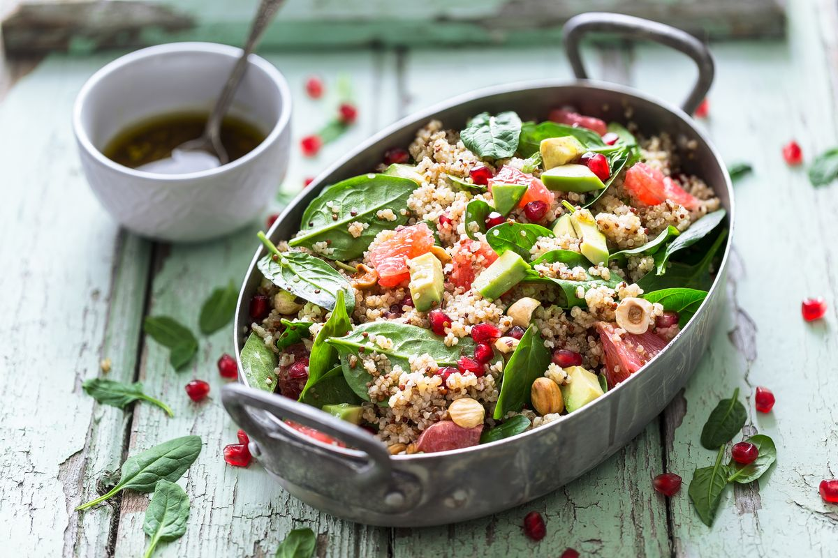 Cous cous with fresh spinach