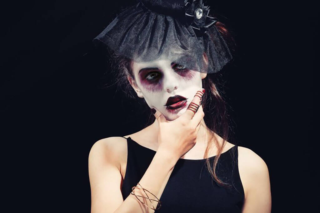 Woman wearing zombie make-up