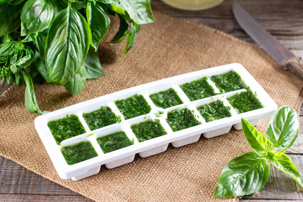 Basil molds and cubes