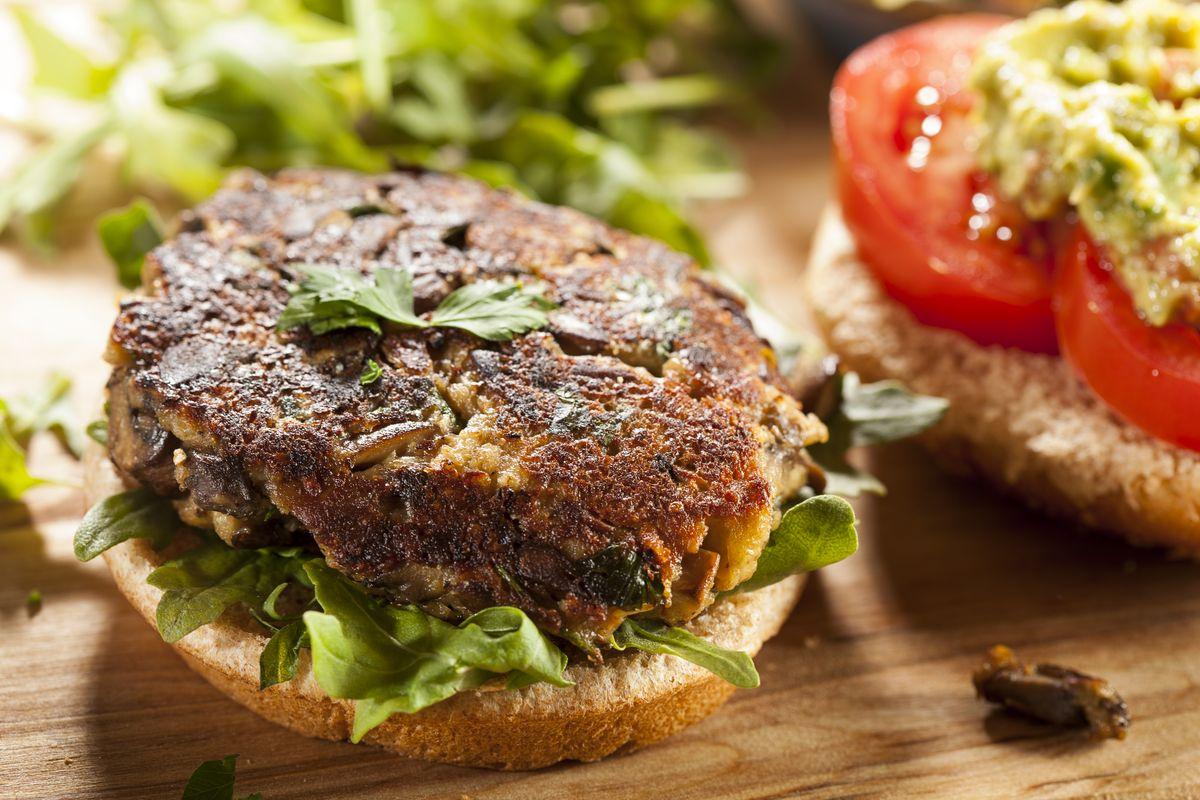 Mushroom and chickpea burger