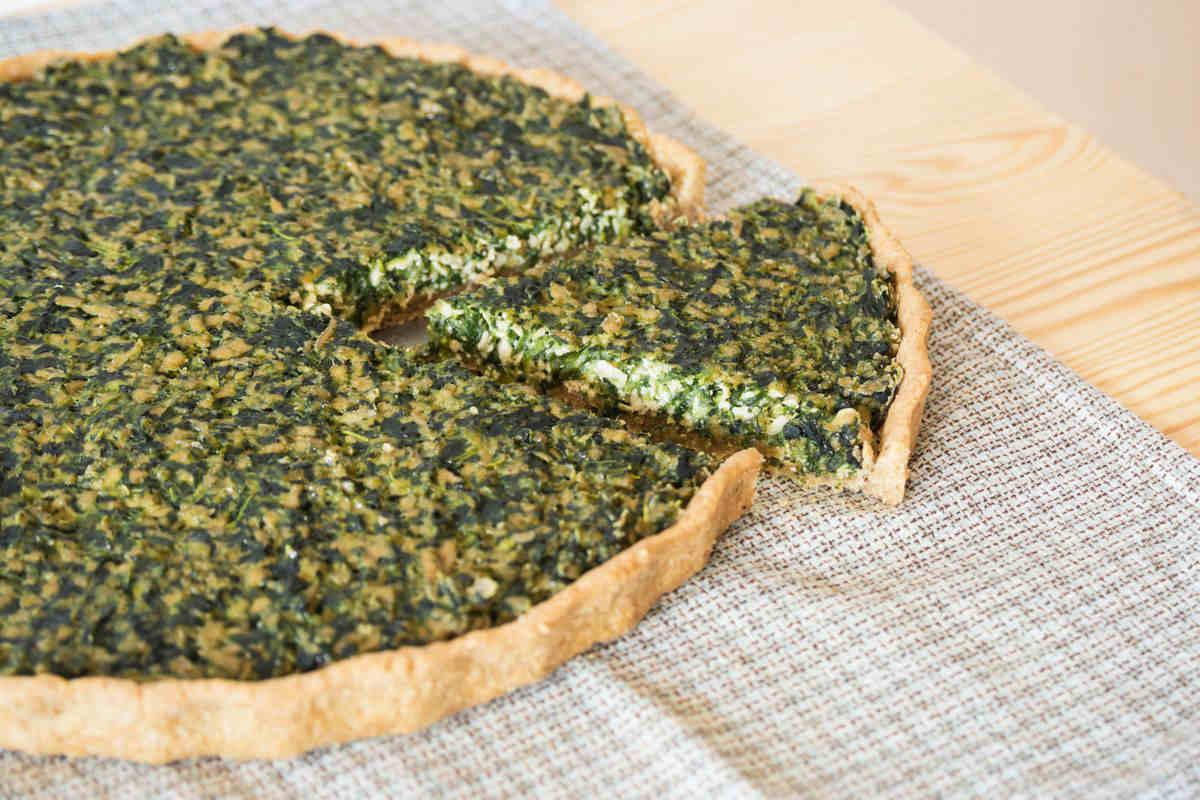 Savory spinach and tofu pie