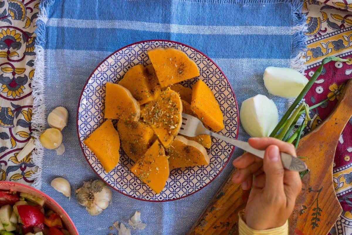 Baked pumpkin triangles