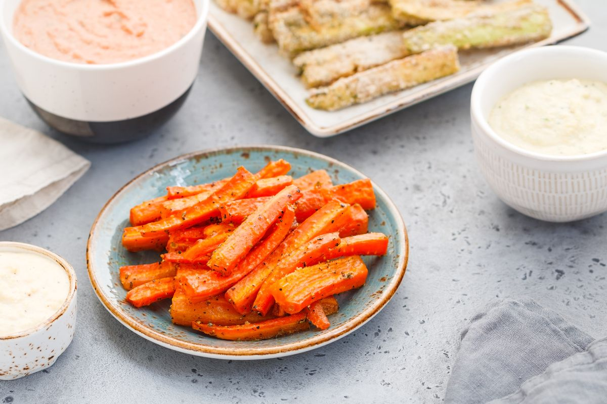 Carrot sticks in the oven