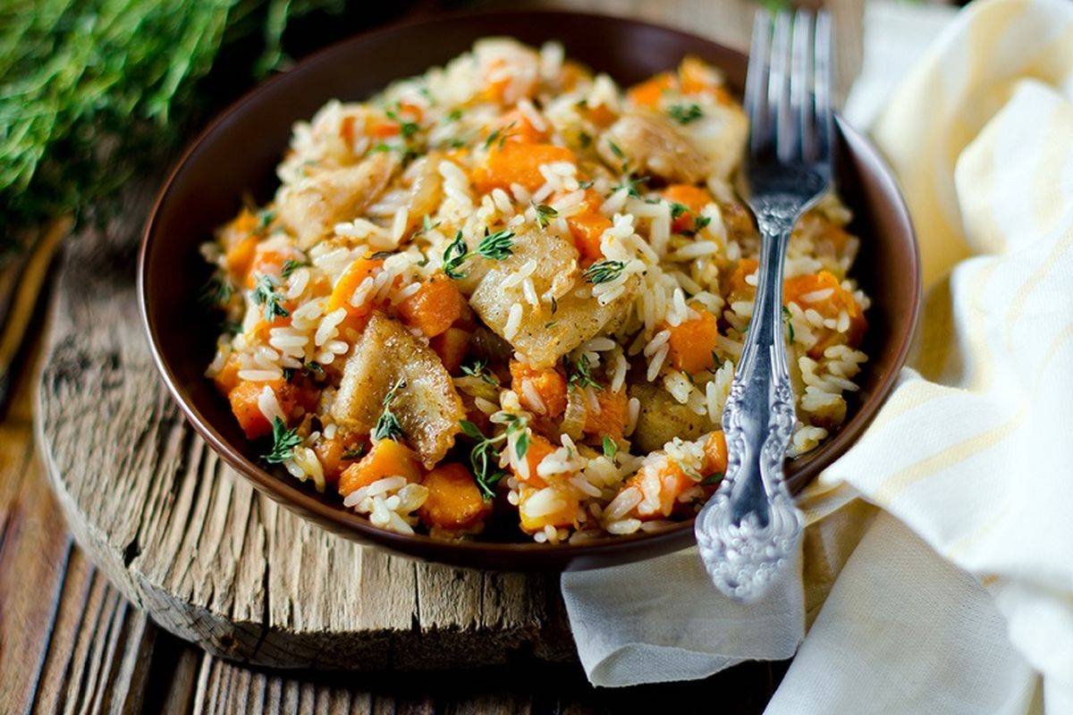 Pumpkin and clams risotto