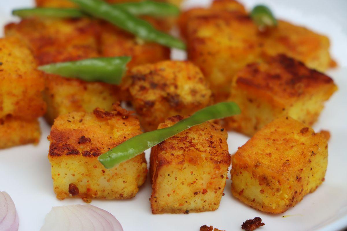 Crispy tofu with green beans